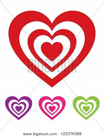 Vector Heart Symbol Set in Various Colours