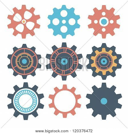 Gear Collection Machine Gear, Wheel Cogwheel Vector, Set Of Gear Wheels, Collection Of Vector Gear