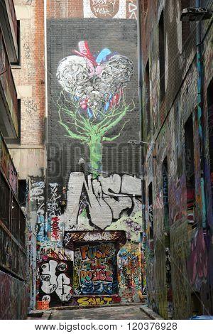 Graffiti art by artist Eloiza Street at Hosier lane in Melbourne