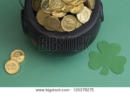 leprechaun gold and shamrock