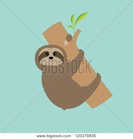 Sloth Hugs Tree Branch. Cute Cartoon Character.  Wild Joungle Animal Collection. Baby Education. Blu