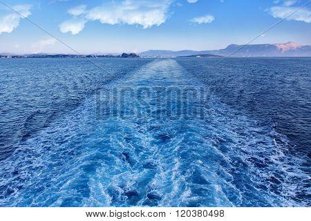 Ferry Leaving Corfu Island - Leaving A Trail