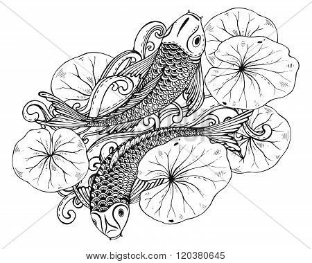 Hand Drawn Vector Illustration Of Two Koi Fishes With Lotus Leaves
