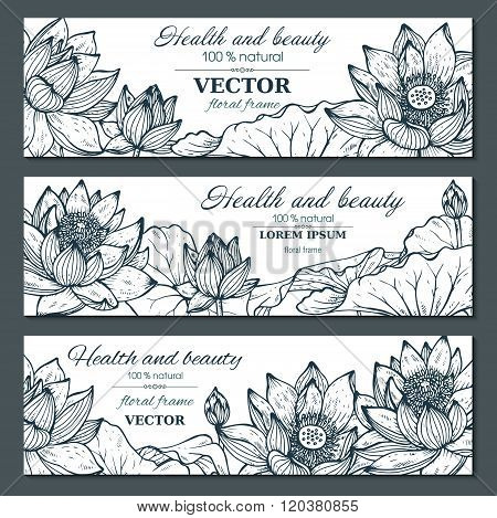 Set Of Three Horizontal Banners With Beautiful Lotus Flowers And Leaves