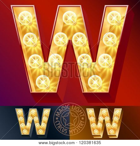 Fantastic vector  light up font with lamp. Letter W