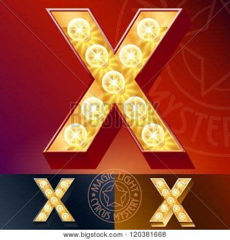 Fantastic vector  light up font with lamp. Letter X