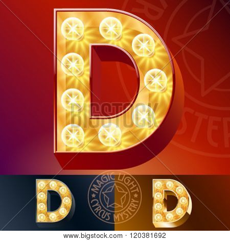 Fantastic vector  light up font with lamp. Letter D