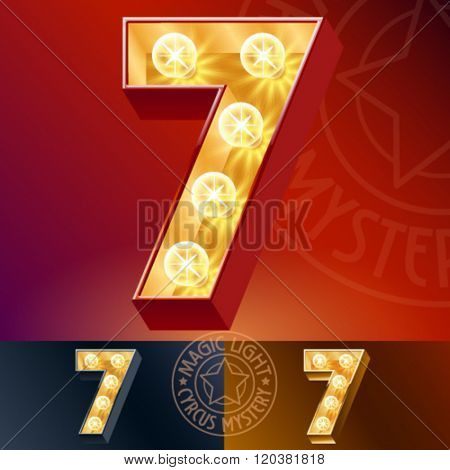 Fantastic vector  light up font with lamp. Number 7