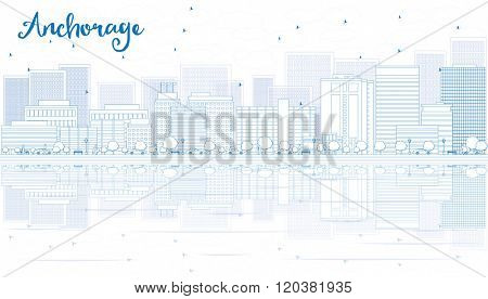 Outline Anchorage skyline with blue buildings. Vector illustration. Business and tourism concept with copy space. Image for presentation, banner, placard or web site