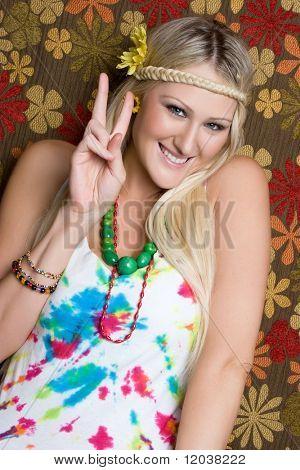 Hippie Girl Giving Peace Sign