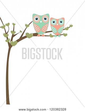 Owl family sitting on a tree branch. Vector family concept.