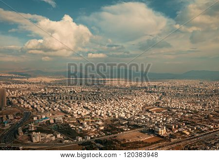 City Of Tehran From Above Under The Sunset Warm Light