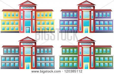 Illustration of school building collection set