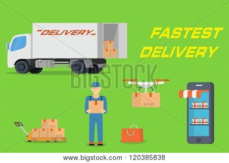 Fastest delivery concept in flat design