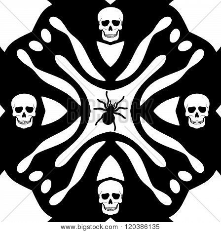 Monochromatic pattern or background With Skulls Ans Spider Silhouette
