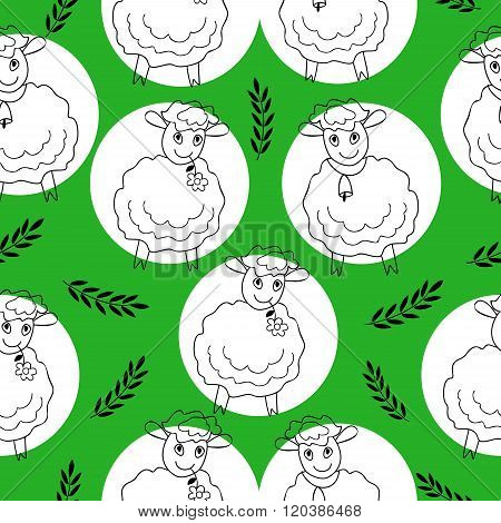 seamless pattern with curly sheep on a green