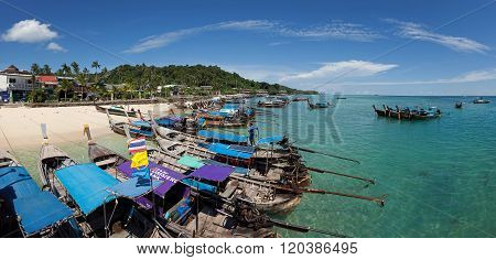 Panorama Of Old Boats And Blue Sea In Ton Sai Bay Of Phi Phi Don Island Near Phuket