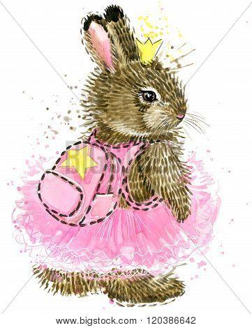 Cute Bunny. Watercolor bunny. Rabbit. Wild rabbit watercolor.
