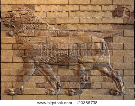 Persian Achaemenid Lion Bas Relief On Molded Terracotta Bricks