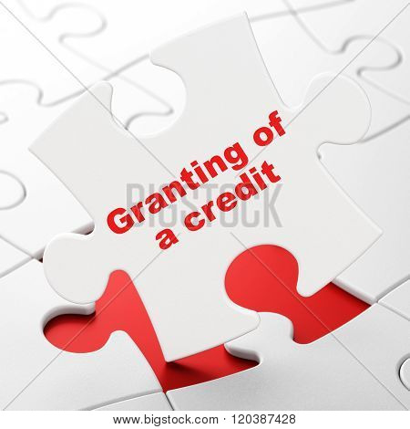 Currency concept: Granting of A credit on puzzle background