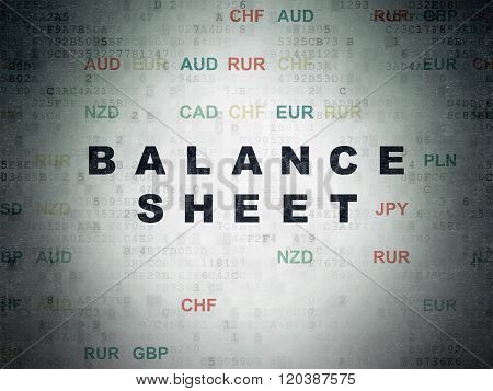 Currency concept: Balance Sheet on Digital Paper background