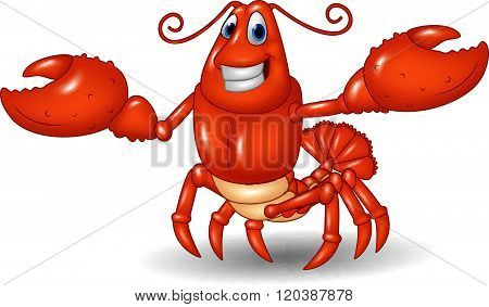 Cartoon happy lobster hands up isolated on white background