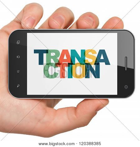 Banking concept: Hand Holding Smartphone with Transaction on  display
