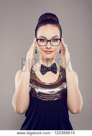 Retro woman in eyeglasses