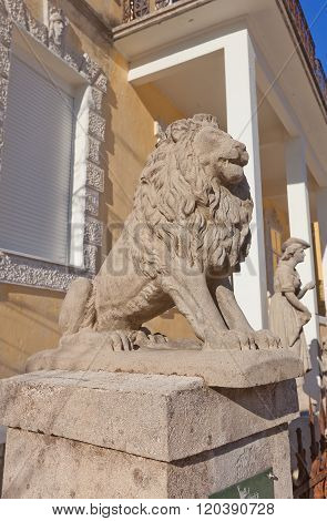 Lion Sculpture Of Djukanovic House In Cetinje, Montenegro