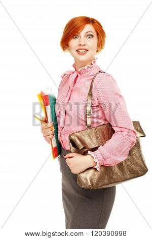 Portrait Of Funny Female Teacher Holding Folders And Bag Isolated On White