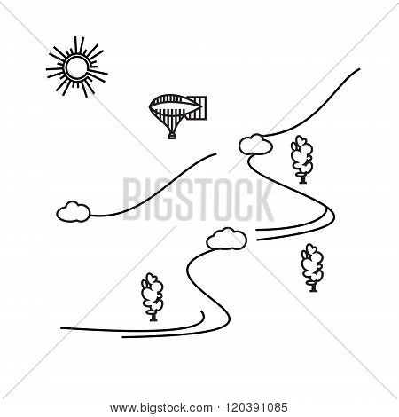Image of outline aerostat, trees, mountain