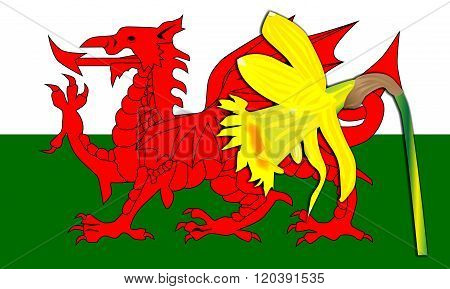 Daffodil Welsh Dragon Flag