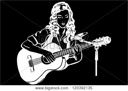 Vector Sketch Of A Girl Playing The Guitar In Front Of A Microphone
