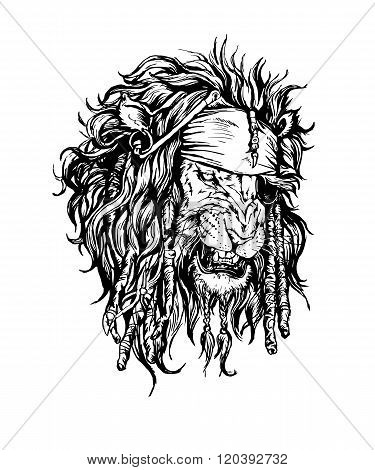 Vector hand drawn realistic lion-pirate character.