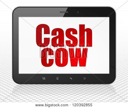 Business concept: Tablet Pc Computer with Cash Cow on display