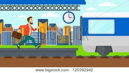 Man running along the platform.