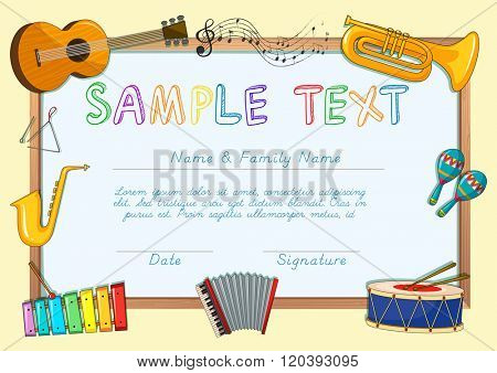 Certificate template with musical instruments illustration