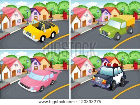 Four scenes of neighborhood with car on the road illustration
