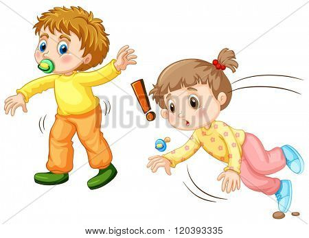 Toddler falling down on the ground illustration
