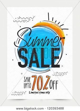 Summer Sale Banner, Sale Poster, Sale Flyer, Sale Vector. 70% Off, Sale Background. Big Sale, Super Sale, Special Offer on Every Brands.Vector illustration.