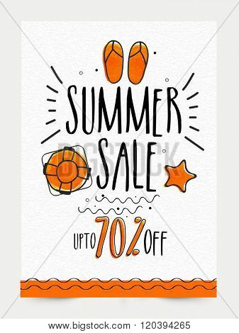 Summer Sale Banner, Sale Poster, Sale Flyer, Sale Vector. 70% Off, Sale Background. Big Sale, Super Sale, Special Offer..Vector illustration.