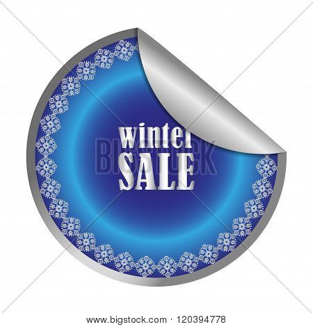 Winter Sale label, vector illustration