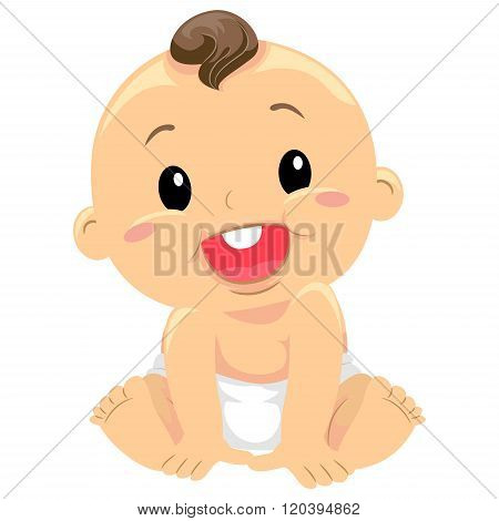 Vector Illustration of a Baby Sitting