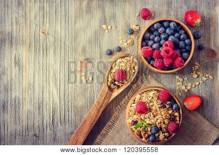Fresh Healthy Breakfast With Granola And Berries, Copy Space Rustic Background