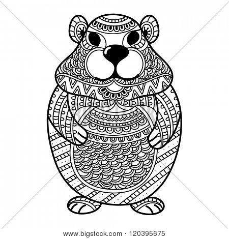 Black and white illustration of Groundhog made by ethnic floral doodle pattern for Coloring Book, Tattoo and Decoration.
