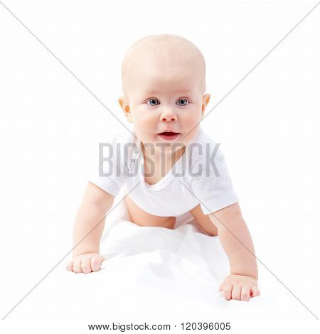 Blue eyed cute tine baby crawling isolated on white