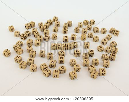 Cubes With Letters Make Up The Word Logic,  English Alphabet