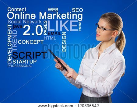 Beautiful business woman pushing SEO process. Online marketing