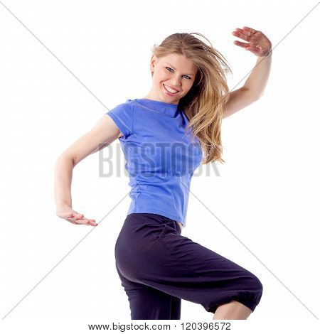 Sexy female aerobics zumba dance trainer in pose isolated