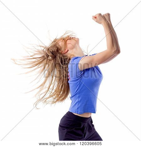 Aerobics/ zumba fitness female dancing with disheveled hair